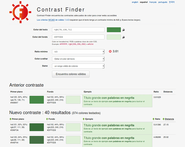 screenshot of Contrast-Finder software in Spanish